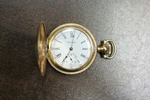 1907-Waltham-0s-15-Jewels-Gold-Plated-Hunting-Pocket-Watch