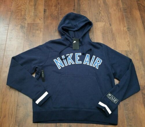 Nike Air Men/'s Fleece Pullover Hoodie L Blue Throwback Retro Casual Gym New