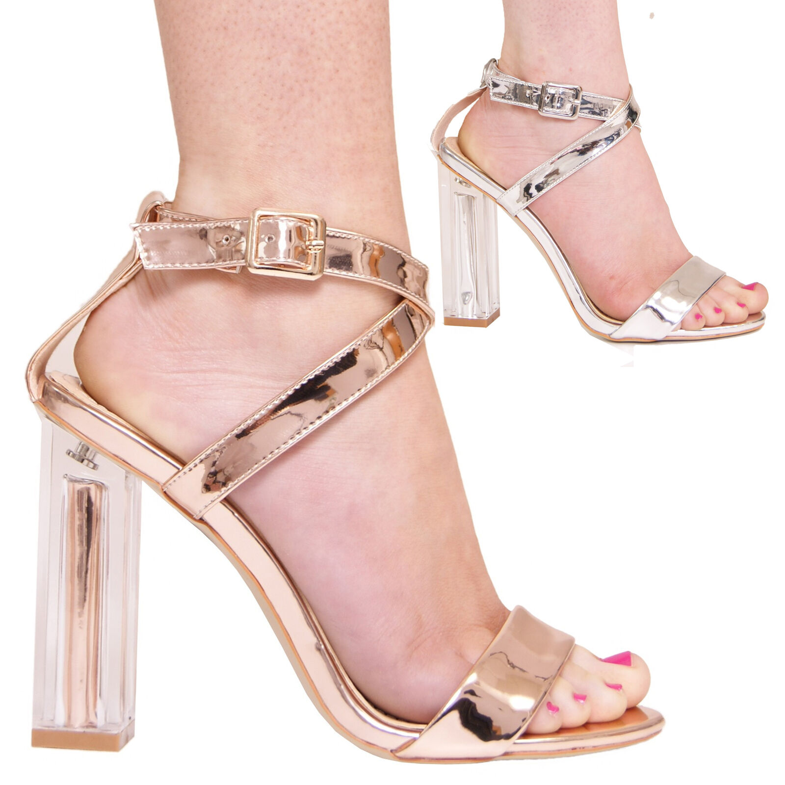 LADIES WOMENS PERSPEX SANDALS FORMAL EVENING PARTY FASHION STYLE METALLIC SHOES