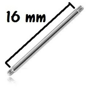 Accessoire piercing tige de 1,2 mm 16 gauge longueur 8 mm