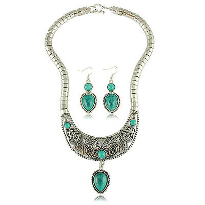Vintage Turquoise Water Drop Jewellery Set Drop Earrings Statement Necklace S337