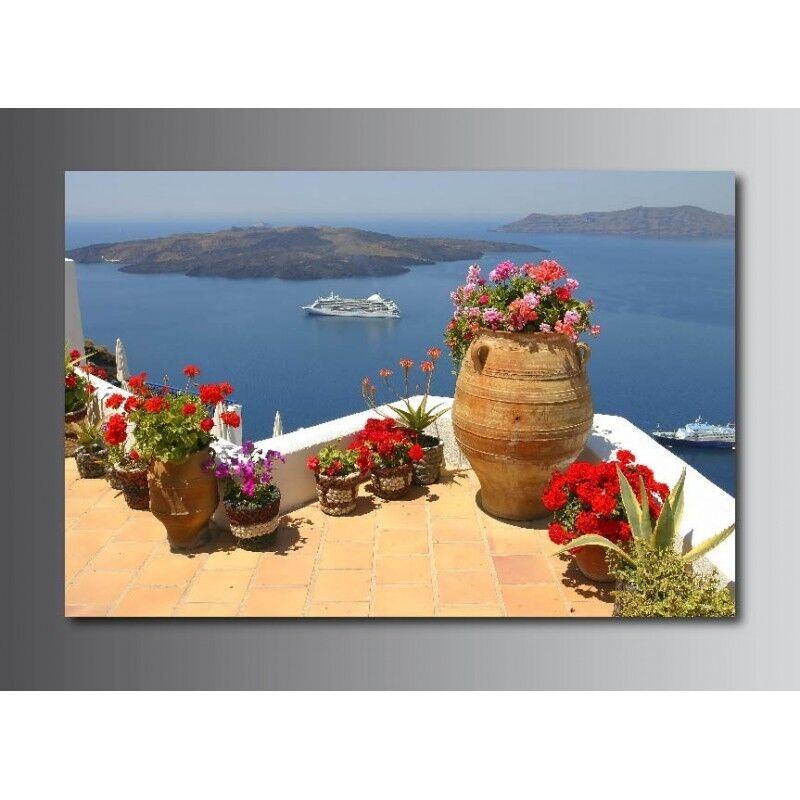 Tableaux toile déco rectangle balcon vue sur la la la mer 3096404 1efb96
