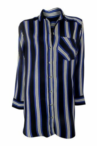 Topshop Blue /& Black Striped Grandad Shirt Tunic with Long Sleeves