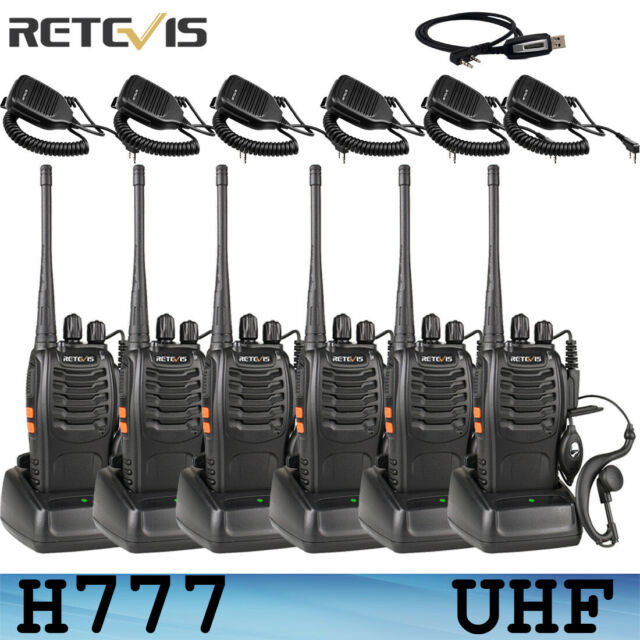 4XRetevis H777 Walkie Talkie 2Way Radio UHF400-470MHz 16CH 5W+4*Speaker Mic US