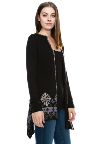 Vocal Crystals Cross Fleur De Lis Black Tunic Cardigan Sweater Top S