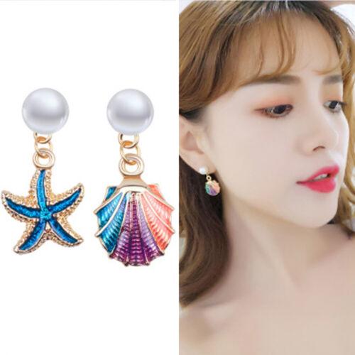 Asymétrie Sea Shell Starfish Clous D/'Oreilles Boucles d/'oreilles pendantes Summer Filles Bijoux