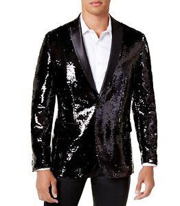 INC Mens Blazer Black Size Medium M Sequin Satin Peak Lapel Slim Fit $149 015