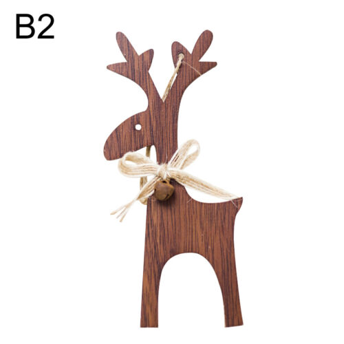 KF/_ Xmas Wooden Elk Reindeer Bowknot Bell Fence Hanging Decoration Candy GC