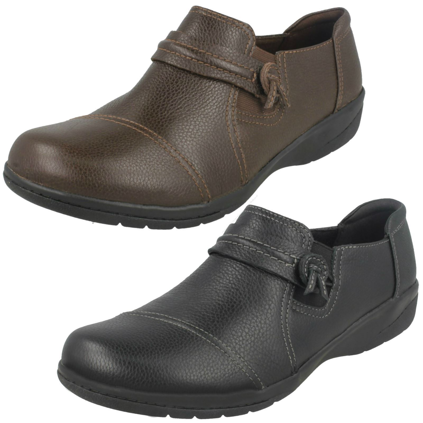 Damen schwarzes Leder Clarks Klug Freizeit Schuhe Cheyn Madi E FBSSUNG