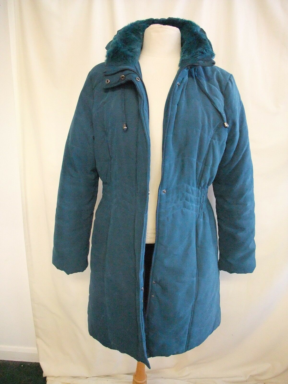 Ladies Coat BHS teal quilted parka, detachable hood, faux fur collar 7899