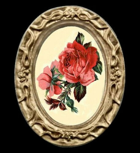 Vintage Red Roses Miniature Dollhouse Oval Picture