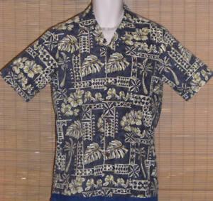 Royal Creations Hawaiian Shirt Blue Gray Tan Small LN