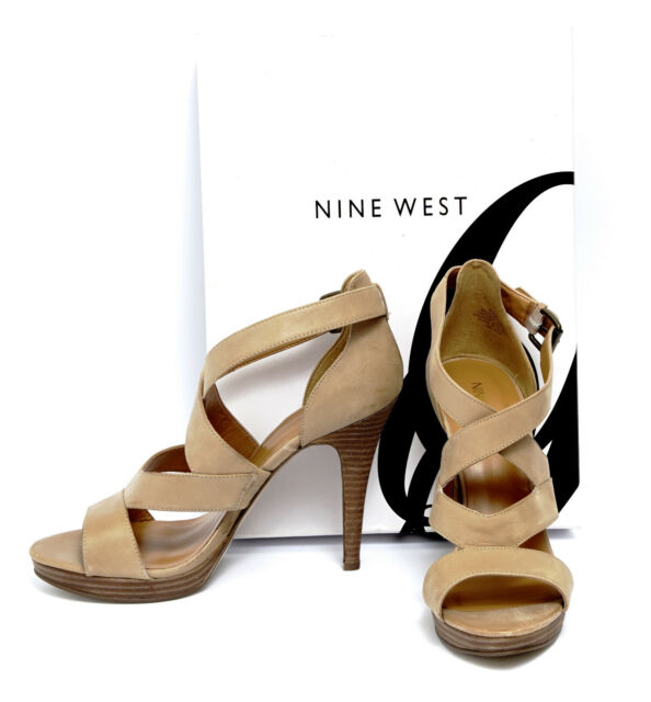 hot product 100% top quality detailed pictures Nine West Tan Leather Strap 4 1/2 Inch High Heel Platform Sandals MAKEWAVES