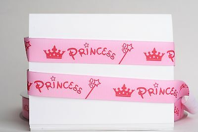 "5 Yards 7//8/"" ROSE PINK PRINCESS CROWN GROSGRAIN Ribbon 4 HAIRBOW"