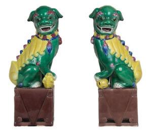 Cina-20-Secolo-Grande-Leone-Pair-Of-Cinese-Porcellana-Buddista-Kangxi-Stile