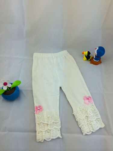 Gorgeous Baby Girl Infant Cotton Leggings Lace Pearl Details White//Pink