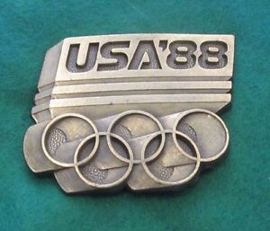 Vintage-USA-OLYMPIC-GAMES-Calgary-Seoul-1988-Belt-Buckle