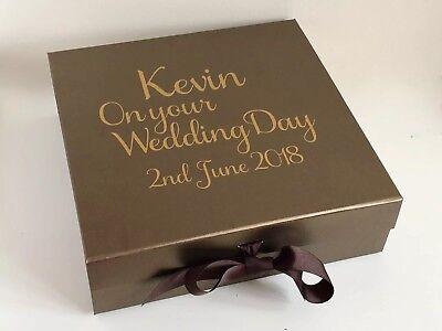 Grande Scatola Regalo Bronzo Personalizzato San Valentino Matrimonio Sposo Di Compleanno-mostra Il Titolo Originale Merci Di Alta Qualità