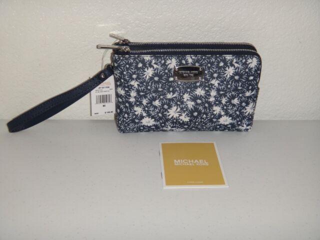7d36a93d1af403 MICHAEL KORS Womens MK Floral Double Zip Wristlet Clutch Wallet Navy Blue  Silver