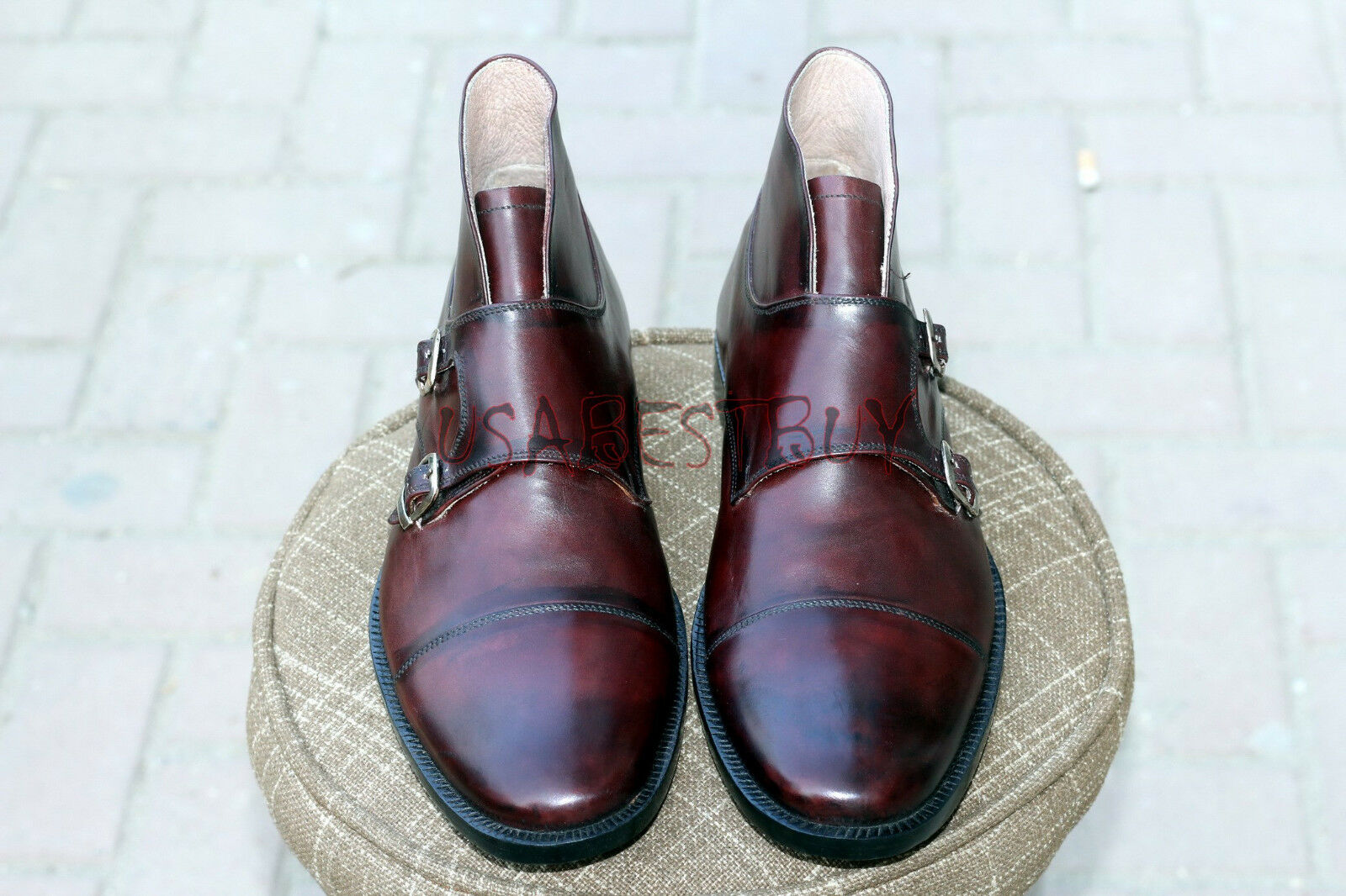 New Handmade Uomo Brown Monk Strap Pure Pelle Stivali, leather Uomo Real leather Stivali, boots 9fa226