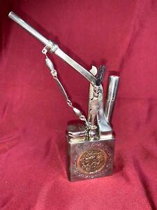 Vintage Engraved 2 tone Design Metal Dragon Oriental Water Smoking Pipe b405