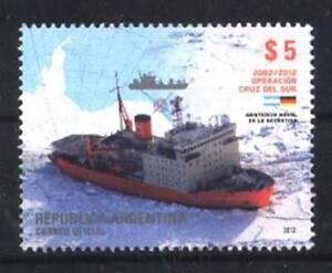 Realistic Argentina 2012,antarctic Map,ship,icebreaker Irizar Yv 2954 Gj 3942 Mnh Argentina