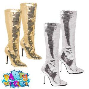 Adult Ladies Disco GoGo Boots Sequin