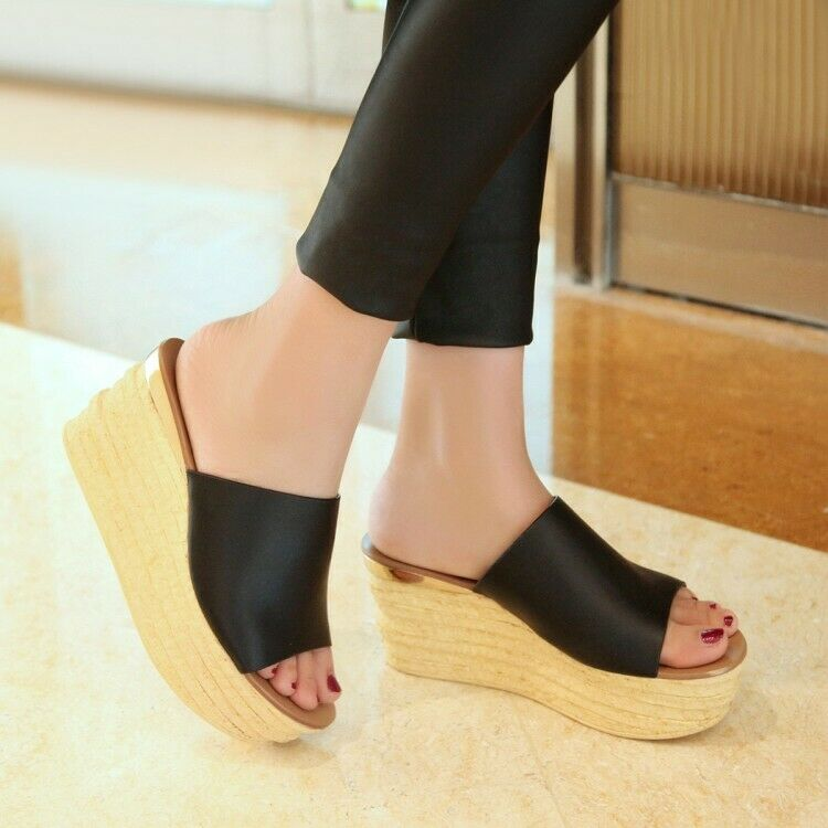 Femmes Summer Open Toes Slides Sandals Slip On Flat Platform Casual Summer chaussures