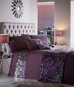 King Size Duvet Cover Set Dazzle Aubergine Purple Sequin Detailing