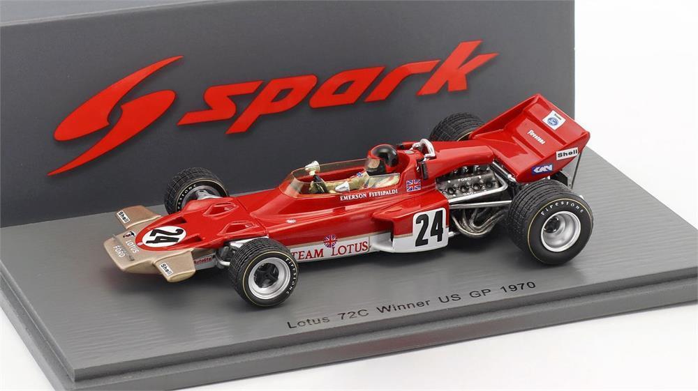 LOTUS 72 C Winner Us Grand Prix 1970 Emerson Fittipaldi Voiture Modèle À L'échelle 1 43 par Spark