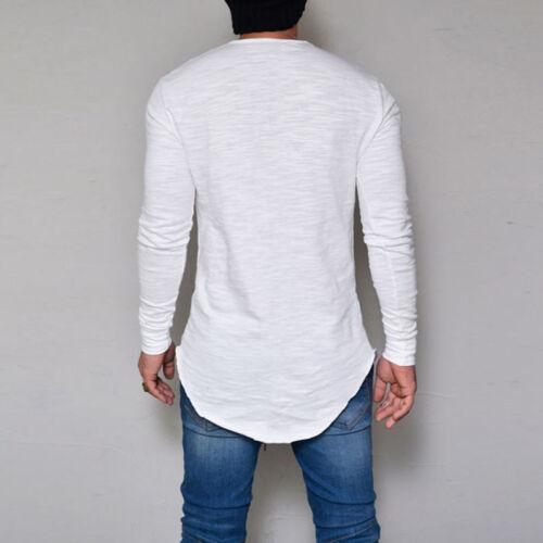 Mens Long Sleeve Shirt Longline Shirt Blouse Tops Casual Slim Fit Solid T-Shirt