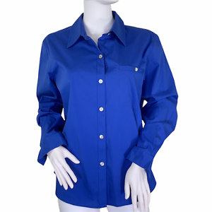 Chico's Carmen Long sleeve Button Up Collared Top in French Blue Size 1 US M NWT