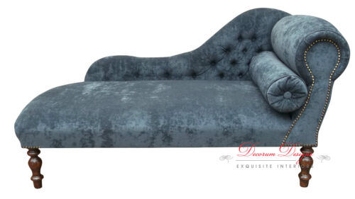 Beautiful Dark Grey Velvet Chaise Longue HAND MADE IN UK