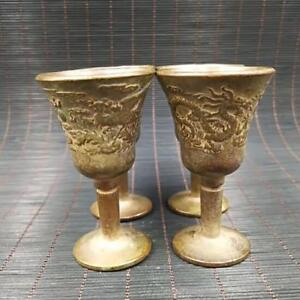Chinese-antique-collection-brass-dragon-phoenix-cup-one-set