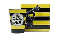 Whimsical Queen Bee 13 oz Coffee Mug with Polka Dot Bow on Handle Gift Boxed, Ne