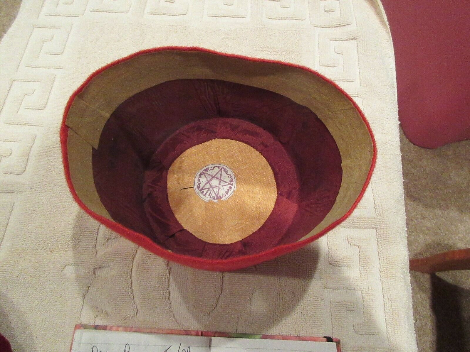 "Tangiers , Men's Red Hat , 1960s , 6""X6"" , Vintage"