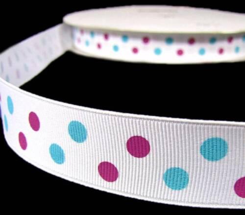 "5 Yards Pink Blue Aspirin Polka Dot Polkadot White Grosgrain Ribbon 7//8/""W"