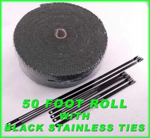 "BLACK EXHAUST HEADER WRAP PIPE HEAT TAPE 1//8 THICK 2/"" X 50 FEET BLACK LOCK TIES"