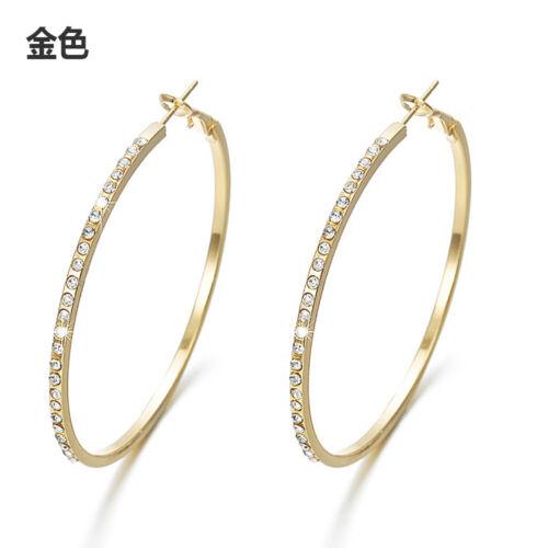 Retro Large Circle Hoop Round Gold Silver Crystal Rhinestone Earrings Ear Studs