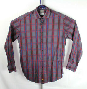 Thomas-Dean-Mens-Size-L-Multicolor-Plaid-Flip-Cuff-Long-Sleeve-Button-Down-Shirt