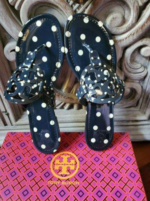 Tory Burch MILLER Patent Leather - NAVY CLASSIC DOT Size 11 Brazil NEW in Box