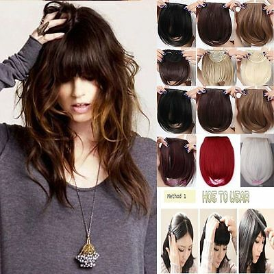Any colors women lady clip in on fake fringe bangs hair extension Human Made h9