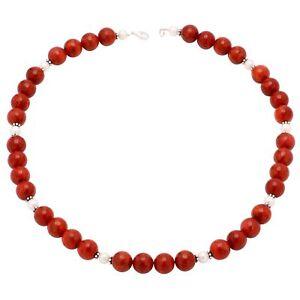 Kette-Collier-Koralle-amp-Perlen-925-Silber-rot-weiss-Korallenkette-Halskette