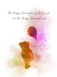 art print winnie the pooh quote balloon inspirational gift