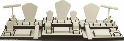 35-Piece Jewelry Display Showcase Collection Set Tan//Brown