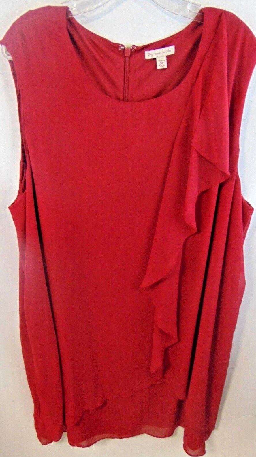 CB  Woman's size 24 Red Sheer Knee length Zip up Dress New with tag
