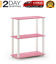 3-tier compact multipurpose shelf display rack, square, pink/white
