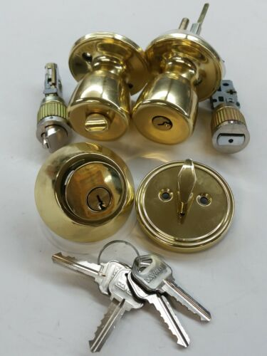 BRASS OR STAINLESS MOBILE HOME DOOR KEYED ALIKE ENTRANCE AND DEADBOLT LOCK SET