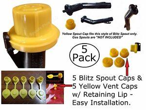 10pcs total NEW Combo Pk 5 BLITZ Yellow Spout Caps +5 YELLOW