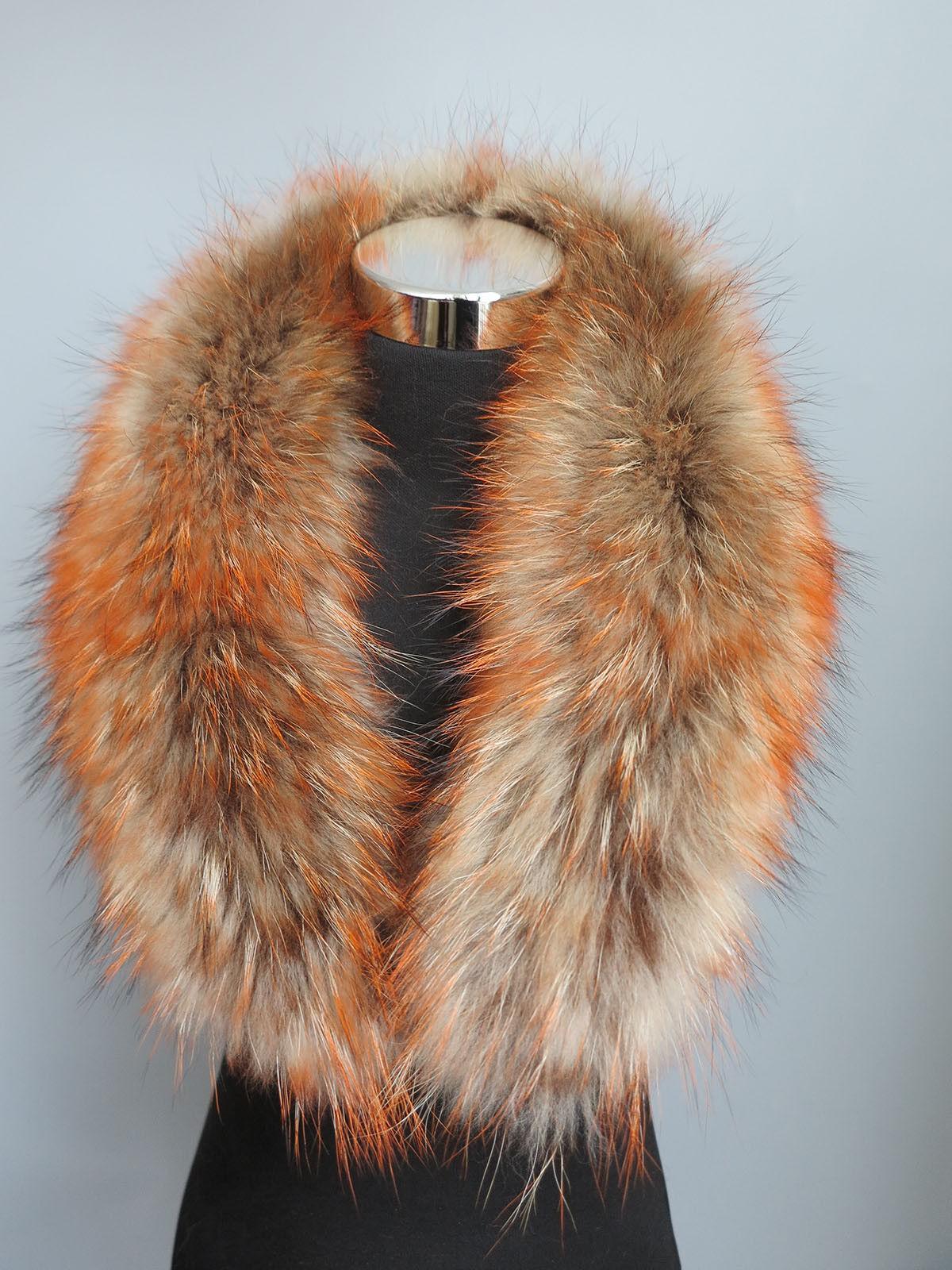 100% real raccoon fur collar / wrap/ scarf jacket colla